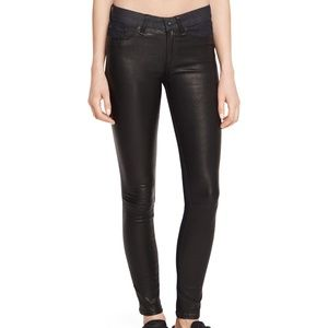 Rag & Bone Jeans Hyde Leather Front Panel Coal 25